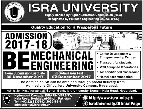 ISRA University Hyderabad Admission 2017 2018 How To Apply