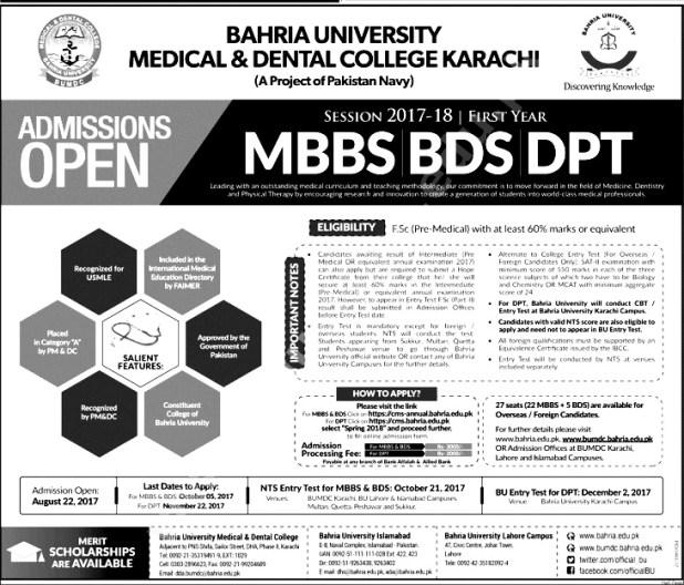 Bahria University Medical & Dental College BUMDC Karachi Admission 2017 How To Apply
