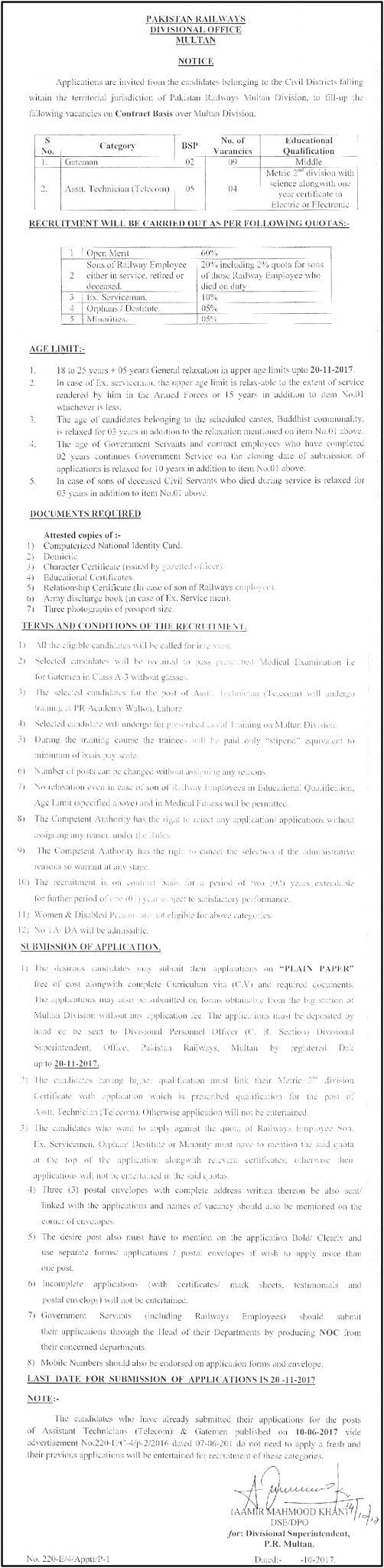 Latest Pakistan Railways Jobs 2017 Application Form Procedure