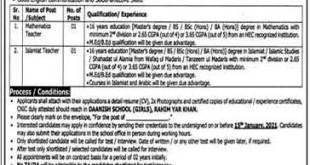 Danish School Rahim Yar Khan Jobs 2021 Qualification Experience Cooks & Others
