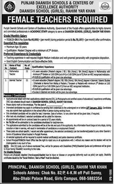 Danish School Rahim Yar Khan Jobs 2020 Qualification Experience Cooks & Others