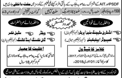 AIT Center of Excellence PSDF Free Courses in Rawat Islamabad 2017 Application Form Roll Number Slip Answer Key Result Merit List
