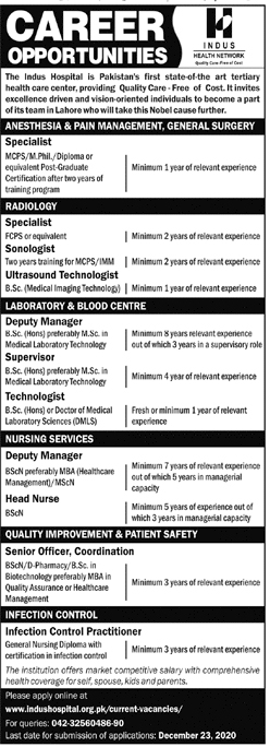 Indus Hospital Lahore Jobs 2020 Apply Online Medical Officers, Nurses & Others