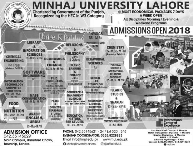 Minhaj University Lahore Admission 2018 Entry Test Application Form