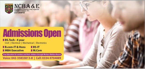 National College Of Business Administration NCBA & E Lahore Admission 2018 Registration Schedule