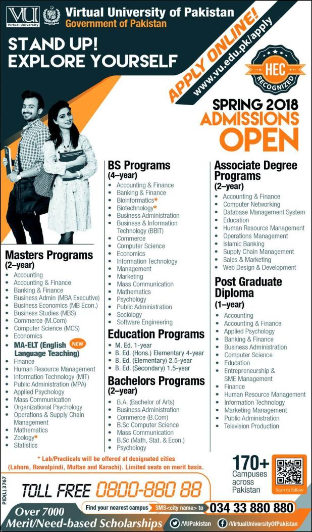 Virtual University Of Pakistan VU Admission Open 2019 Apply Online