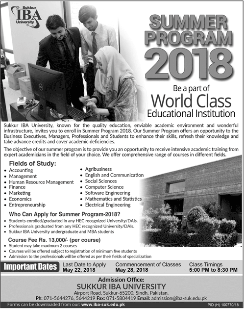 IBA Sukkur Admission 2018 Entry Test Application Form
