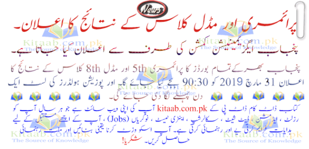 PEC 8th 5th Result 2019 Roll No and Name Wise All Districts