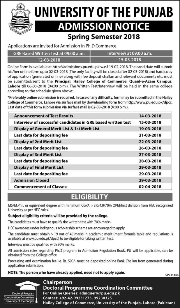 University of The Punjab Lahore Admission 2018  Eligibility Criteria