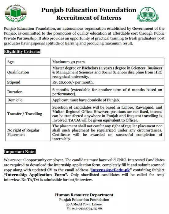 Punjab Education Foundation PEF Internships 2018 How to Apply