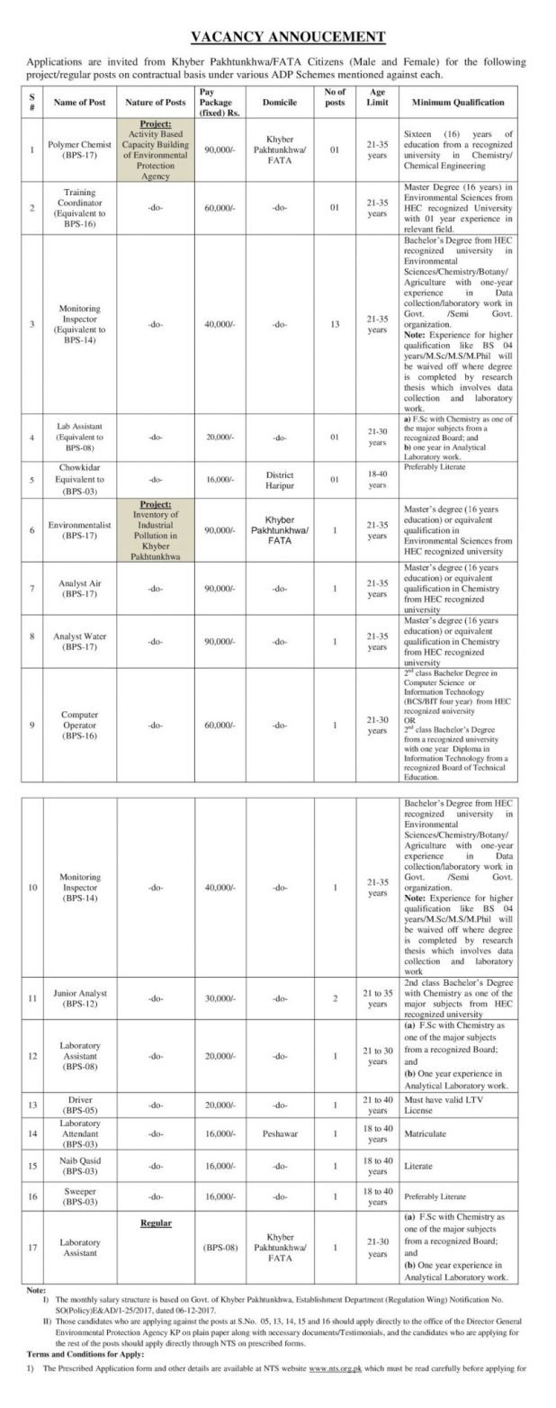 Government of KPK EPA Jobs Screening Test 2021 Application Form Eligibility Criteria Environmental Protection Agency
