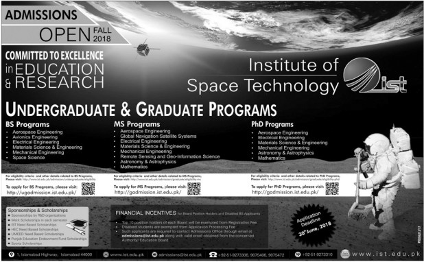 IST Institute Space Technology Islamabad Undergraduate Programs Admissions 2018