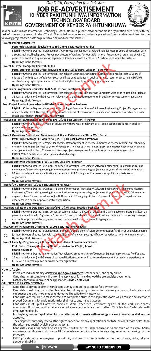 Khyber Pakhtunkhwa Information Technology KPITB Jobs 2020
