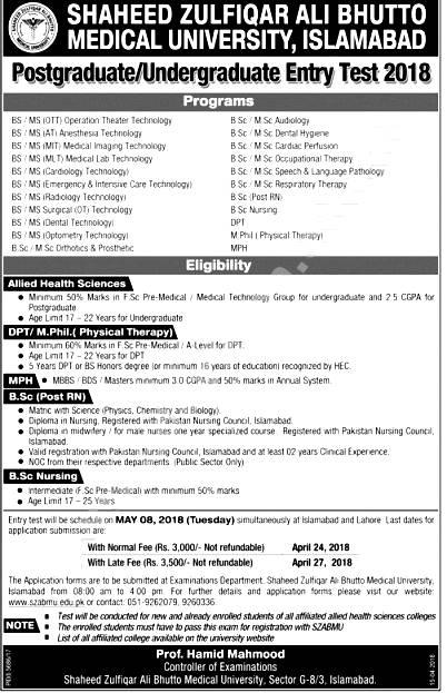 Shaheed Zulfiqar Ali Bhutto Medical University Admission 2019 Apply Form Download