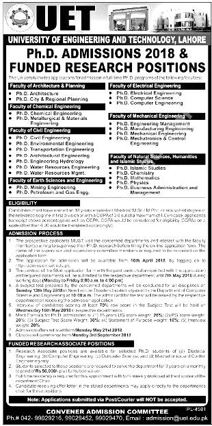 University Engineering And Technology UET Lahore Admission 2018  Funded Research Program