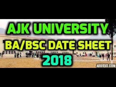 AJK University BA, BSc BCOM Date Sheet 2018