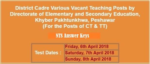 Directorate Elementary Secondary Education KPK Jobs CT TT NTS Answer Keys Result 2018