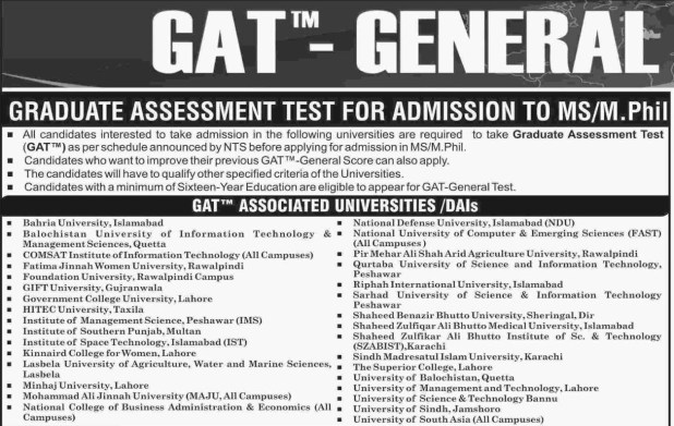 Graduate Assessment Test NTS GAT Subject Online Registration Form 2018 II How To Apply