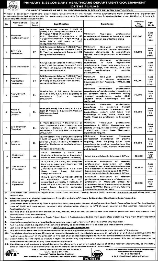 Health Information Service Delivery Unit HISDU NTS Screening Test 2018 Download Application Form