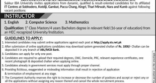 IBA University Jobs 2021 Sukkhar Terms and Conditions Eligibility Criteria