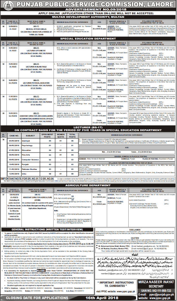 Punjab Public Service Commission Lahore Lecturer Jobs Written Test 2018 Online Apply