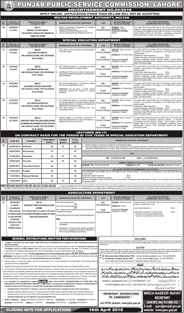 Punjab Public Service Commission Lahore Lecturer Jobs Written Test 2021 Online Apply