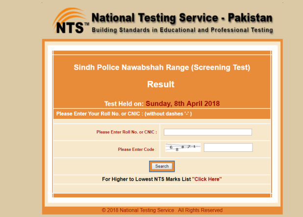 Sindh Police Nawabshah Range Jobs NTS Screening Test Result 2018 Interview Schedule
