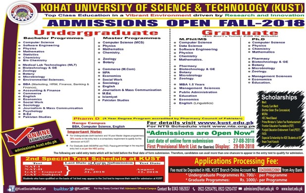 Kohat University of Science & Technology NTS Screening Test 2021 Download Application Form
