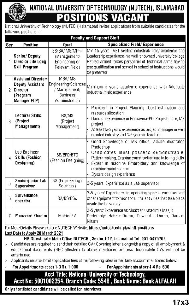 National University Of Technology NUTECH Islamabad Jobs 2021 Application Form Last Date
