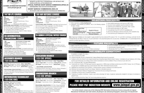Join Pakistan Air Force PAF Permanent Commission SPSSC 2018 Online Apply Form