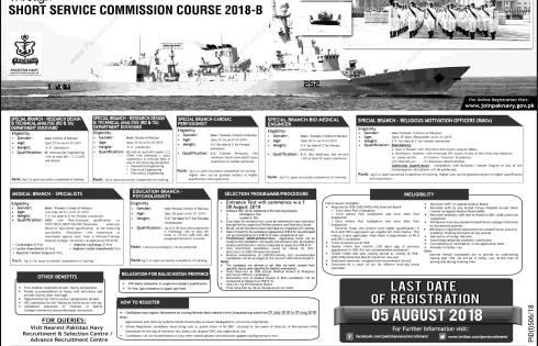 Join Pakistan Navy PN Short Service Course SSC 2018 Registration Online