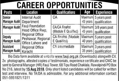 Fauji Foundation Pakistan Jobs 2018 How To Apply