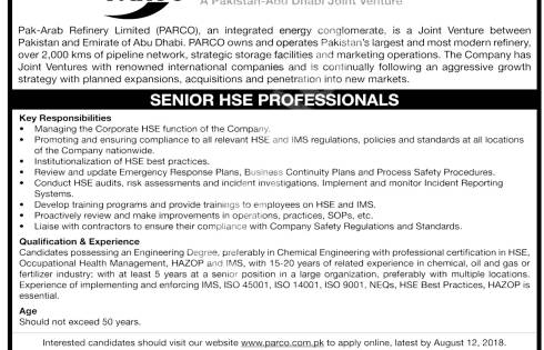 Pak Arab Refinery Limited PARCO Jobs 2021 Online Application