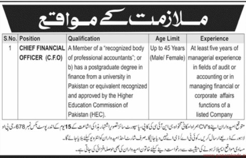 Chief Financial Officer CFO Jobs 2018 Procedure of Applying