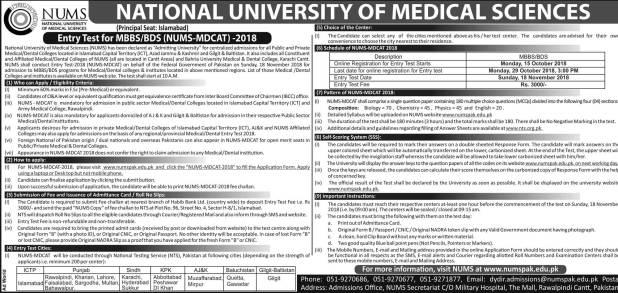 Medical Admission NUMS Entrance Test 2018-19 Date and Schedule Venue Date Sheet National University of Medical Sciences
