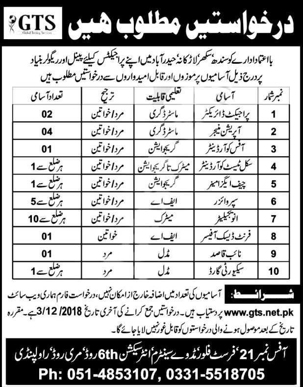 Sindh Global Testing Service GTS Jobs 2018 Online Application Form Download Last Date