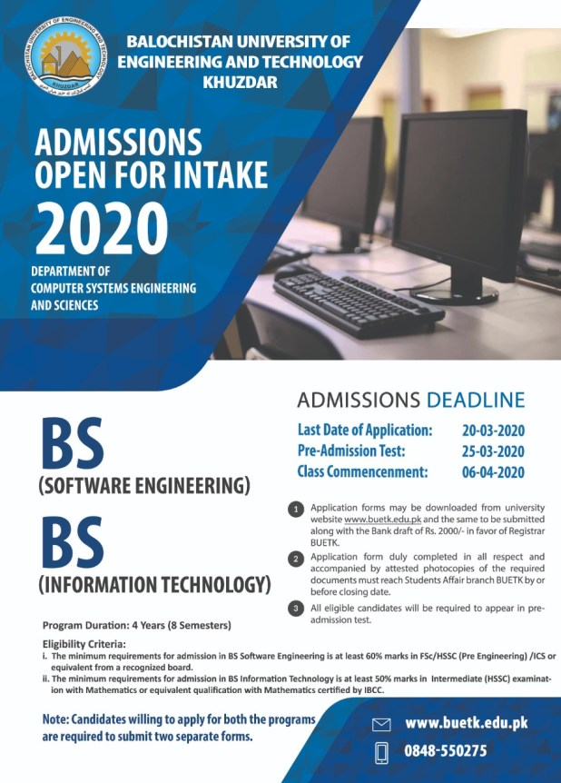 Balochistan University of Engineering and Technology Khuzdar Admission 2020