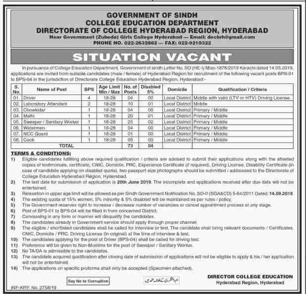 Sindh Govt College Education Department Karachi Jobs 2019 Application Form Eligibility Criteria