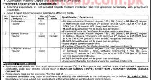 Danish Boys/Girls School Chishtian Jobs 2021 Application Form Download Eligibility Criteria Last Date