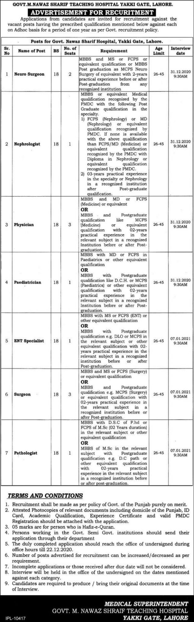 Govt M.Nawaz Sharif Hospital Yakki Gate Lahore Jobs 2021 Application Form Eligibility Criteria