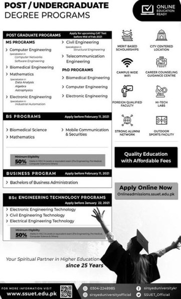 Sir Syed University of Engineering and Technology SSUET Karachi Admission 2021 Eligibility Criteria Dates