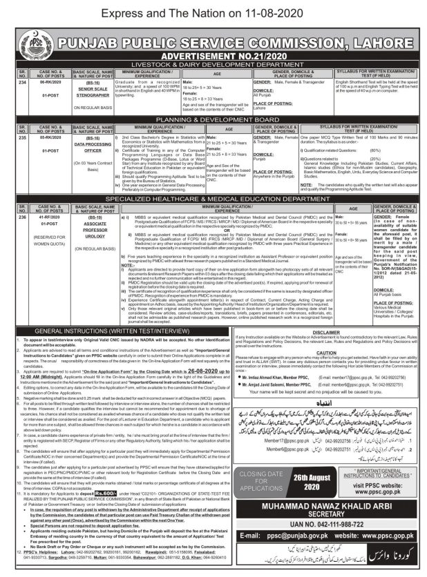Livestock And Dairy Development Punjab PPSC Jobs 2020 Online Apply