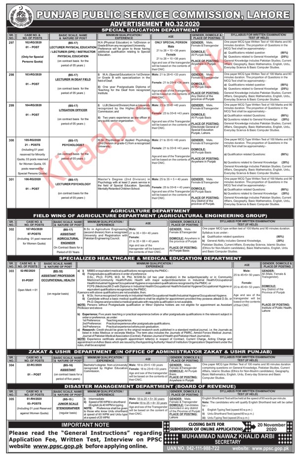 PPSC Punjab Special Education Department Jobs 2020 Online Apply Eligibility Criteria