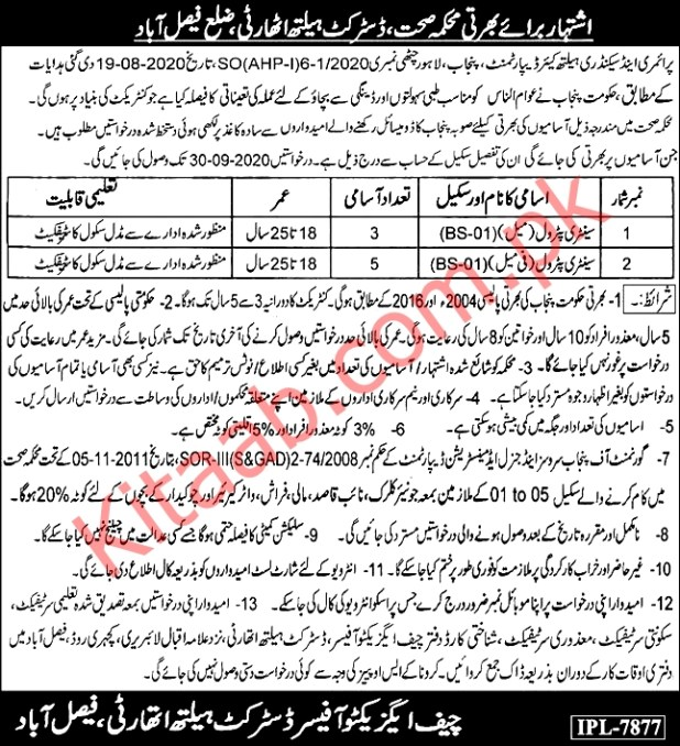 Faisalabad District Health Department Authority Govt Jobs 2021 Application Form Eligibility Criteria Test Interview