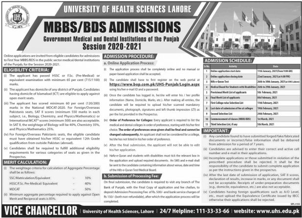 UHS Lahore Admission Merit Lists 2021Selected Candidates of MBBS BDS 1st 2nd 3rd