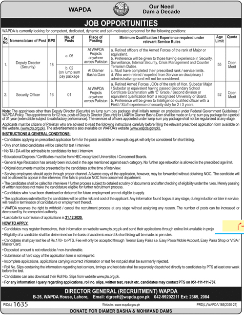 Wapda Jobs 2021 PTS Application Form Eligibility Criteria Water & Power Development Authority