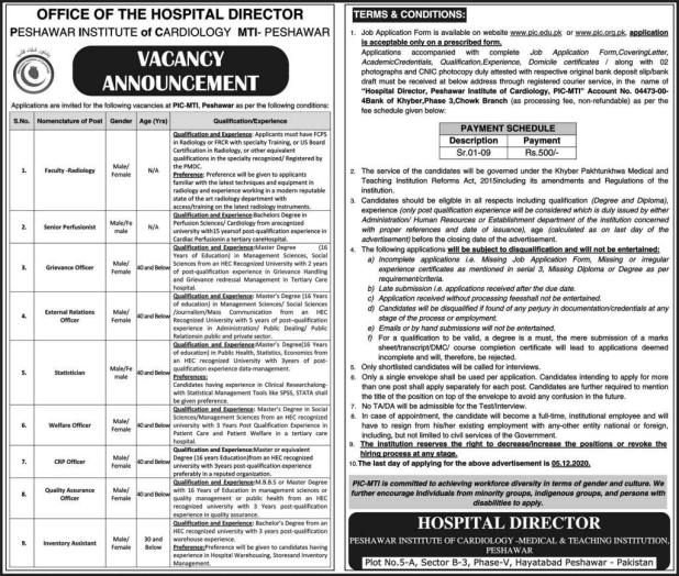 Peshawar Institute of Cardiology PIC Jobs 2020 Apply Online Eligibility Criteria