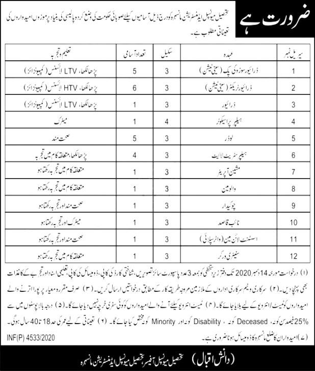 Tehsil Municipal Administration Mansehra KPK Jobs 2021 Application Form Eligibility Criteria