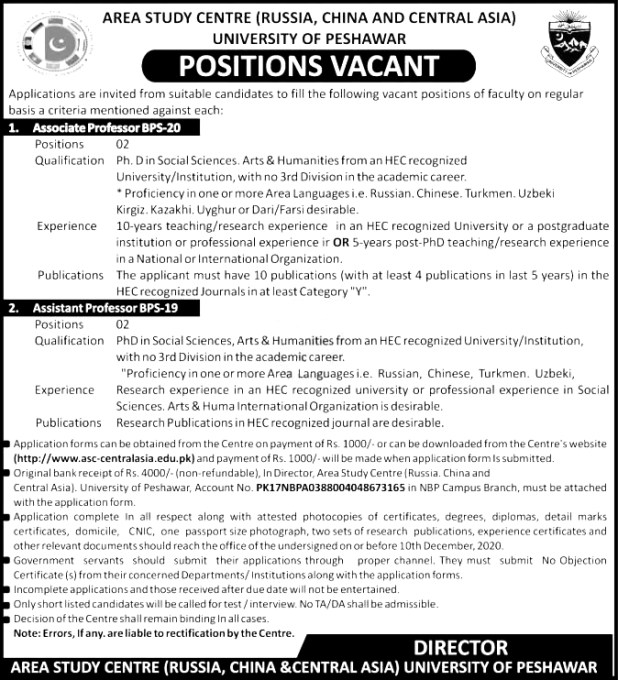 University of Peshawar UOP Jobs 2021 Application Form Eligibility Criteria Last Date