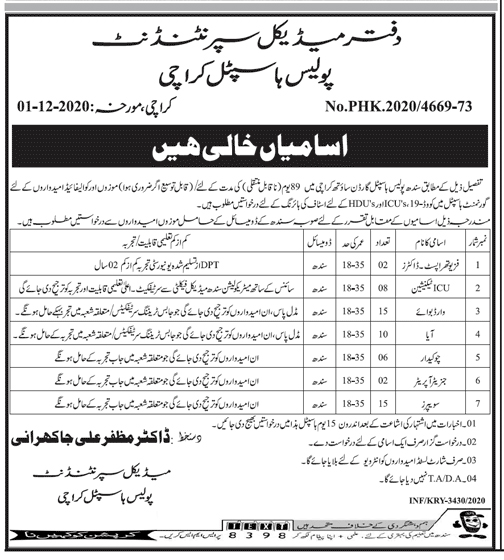 Sindh Police Hospital Jobs 2020 Application Form Eligibility Criteria Last Date